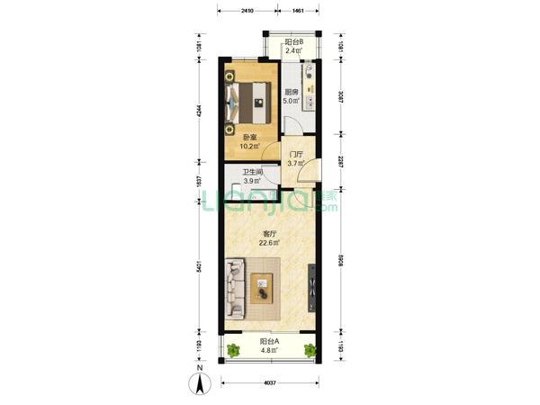 为你而选为你为家,满五, 南北一居室,中楼层,