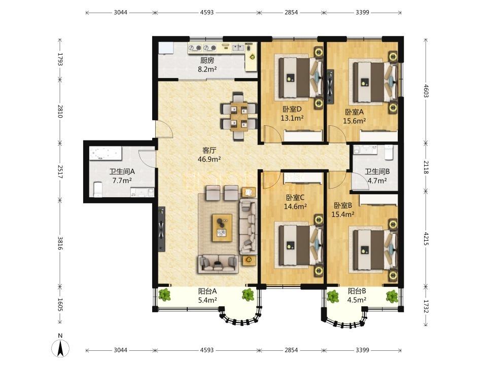 信恒大厦4居室出售1550万 户型方正 南北通透朝向