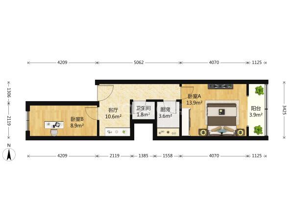 为你而选 黄寺大街24号院 2室1厅 54平