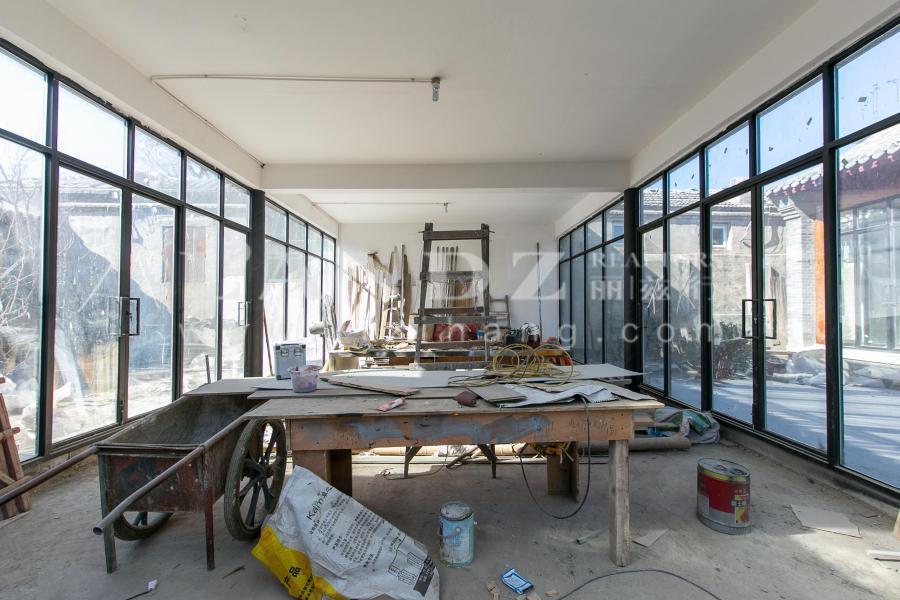 鼓楼 带车库四合院 新翻建 全落地窗设计,中式结构兼顾采光