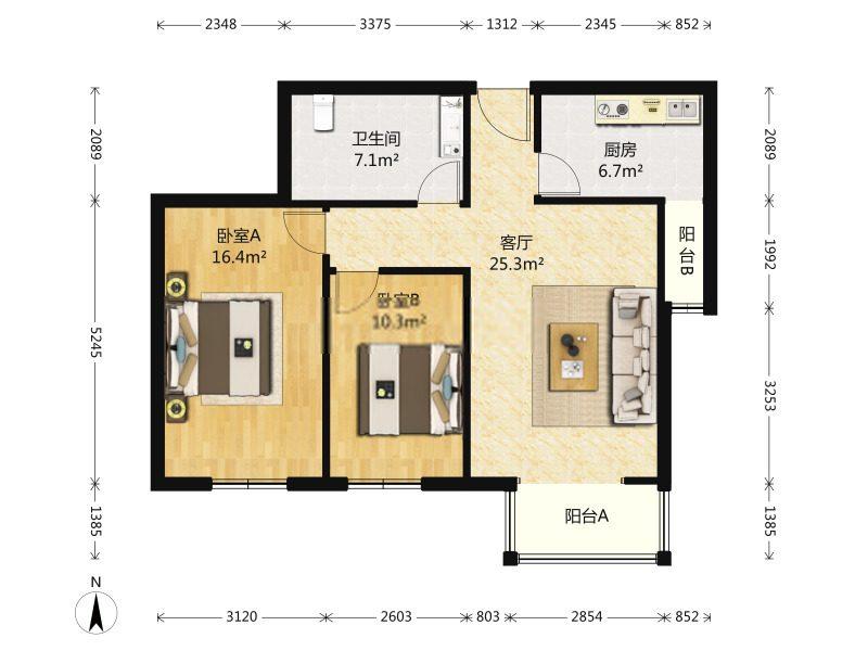 1号地铁口  时代卢峰   2室1厅 98平米大客厅 带花园 可种菜