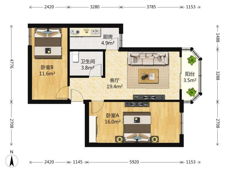 《收费1.2》马家堡4号线,富卓苑东西大两居,业主诚心出售。