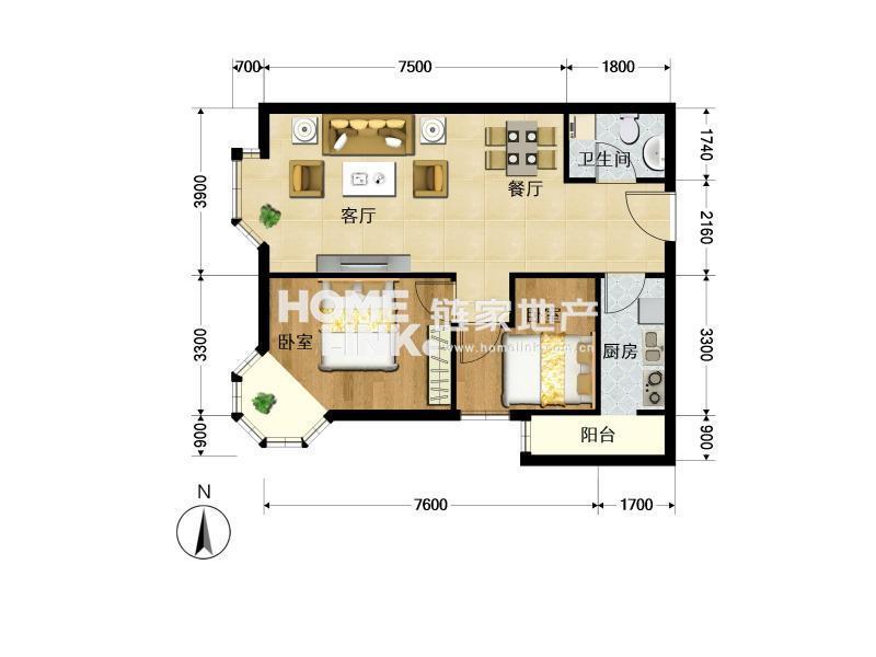 梨园城铁南 时尚街区东区  两居室