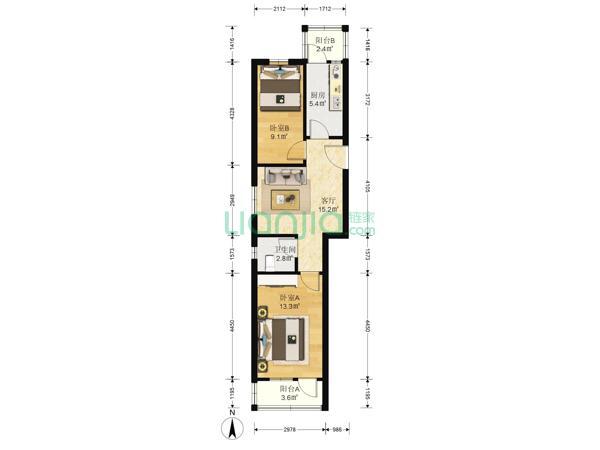 为你而选为你为家 东升园 南北低楼层二居室,满五年公房五道口