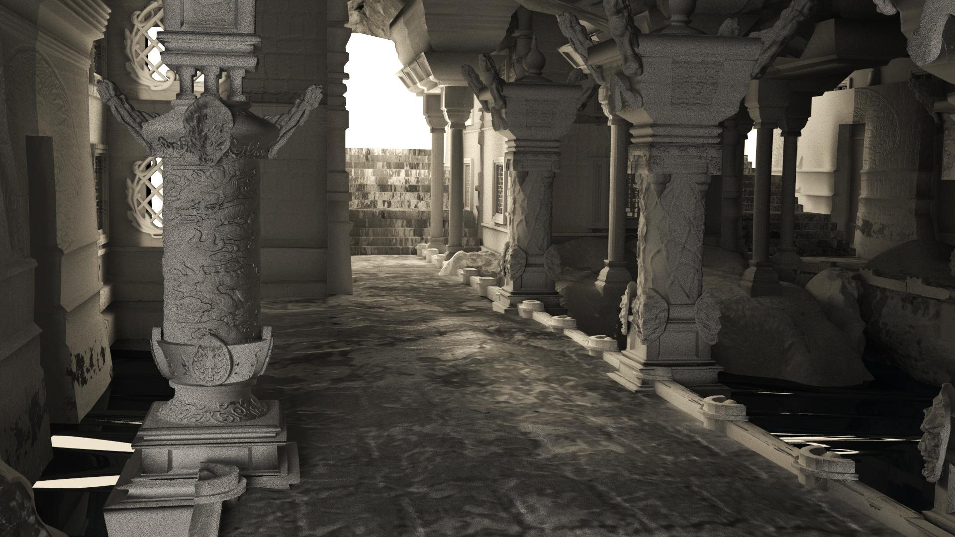 未知的悬崖内部的神秘宫殿。