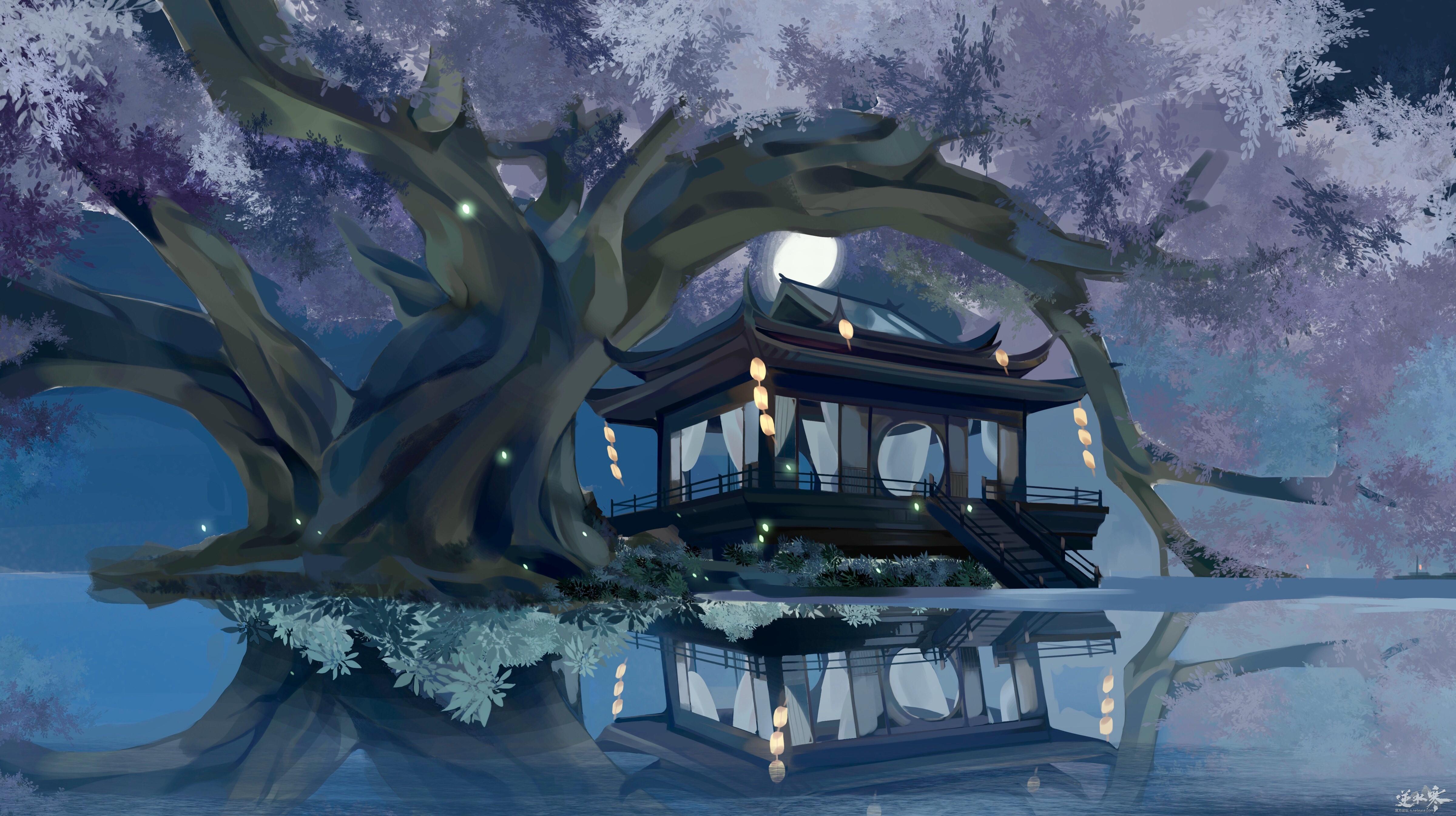 【自在门】【手绘】月下镜湖