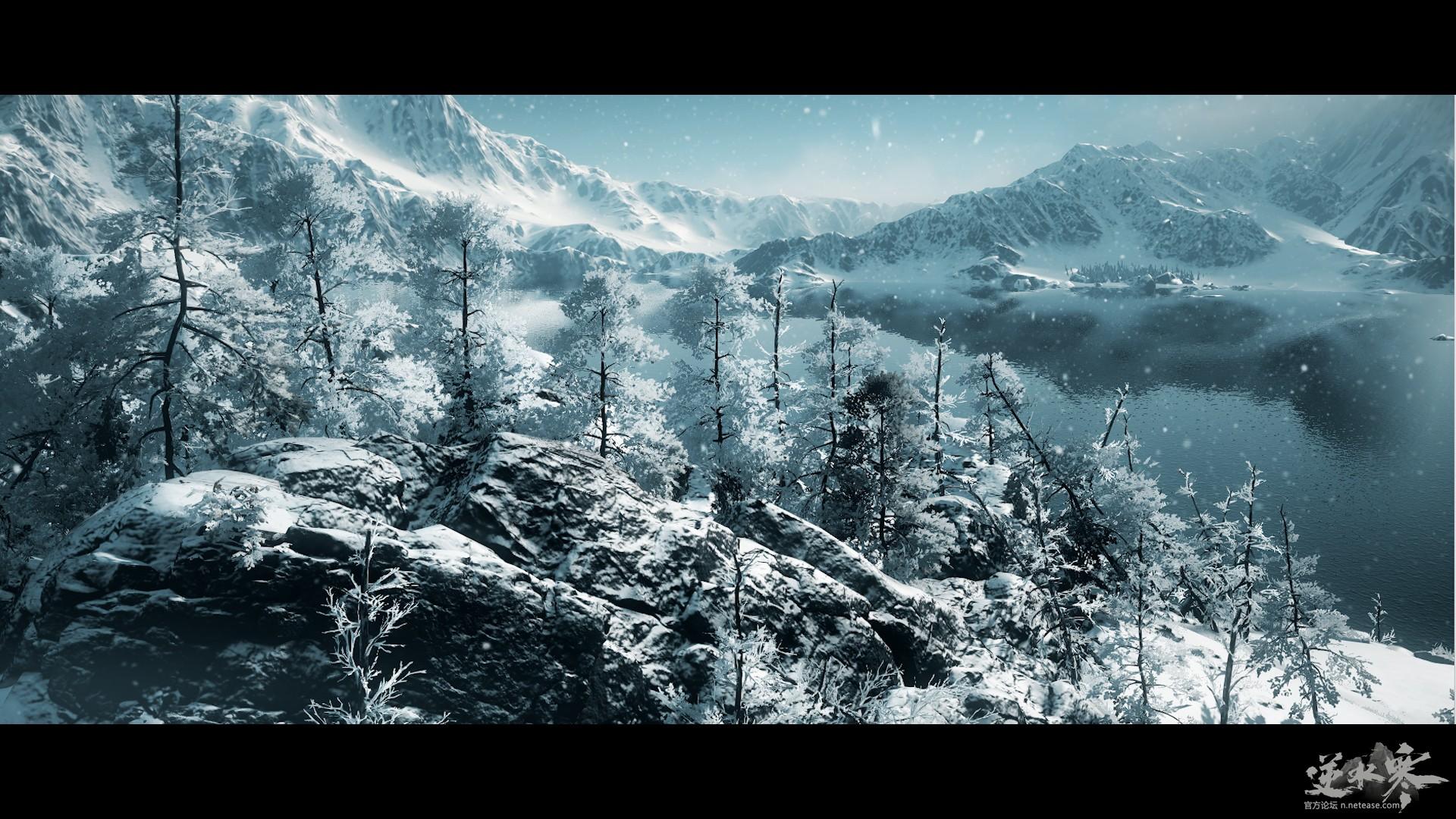 【自在门】逆水寒昆仑虚风景图《雪》